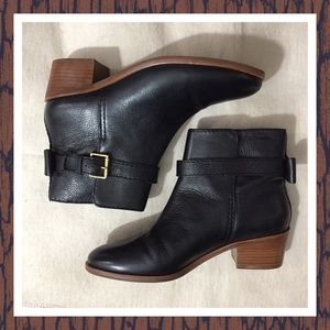 KATE SPADE NY TALEY BLACK LEATHER ANKLE BOOTS 6.5